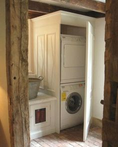 stacked washer dryer laundry room ideas - Google Search