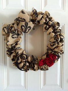 Burlap Wreath Fleur de Lis Brown Black & by onceuponaflowerbyMW