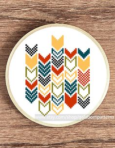 Tittle: Chevron 2    This PDF counted cross stitch pattern available for instant download.    Skill level: Beginner.    Floss: DMC    Fabric: