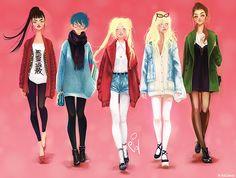 Fashion: Rei Hino, Ami Mizuno, Usegi Tsukino, Minako Aino, Makoto Kino