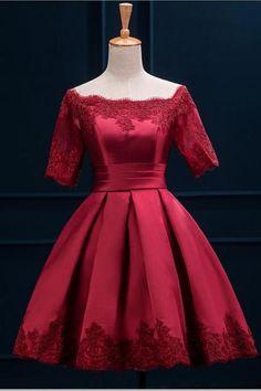 Wine Red Elegant Graduation Dress, Tridimensional Satin and Lace Formal Dress, Short Evening Party Dress, Girls Adult Ceremony Dresses E002
