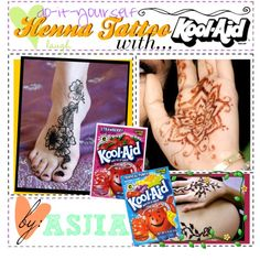 Hey guys! Asjia here! Here is a quick little tip on how to easily do henna tattoos with Kool Aid!   Materials needed: 1) 1 pack of orange Kool Aid 2) one drop of green food coloring 3) 1 cup of water 4) Jar/bowl   How to: 1) Mix it all together! Paint it on your hand and let it sit for 1 minute!    VOILA! :) It should last over a week!
