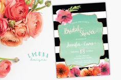 Bridal Shower Invitation Watercolor Bridal Shower by LaLunaDesigns
