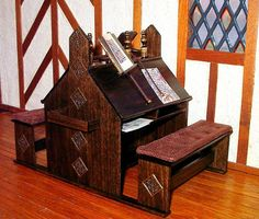 Medieval Scriptorium Desk Dollhouse Miniature 1/12 by CalicoJewels