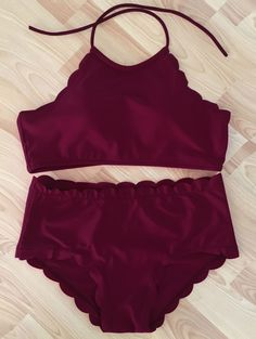 Burgundy Scalloped Bikini