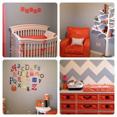 Beautiful orange and gray nursery!  www.butterbeansboutique.etsy.com