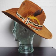 1970's Vintage Brown Felt Feather Hat Cowboy Cowgirl Pimp Hipster by MODernThrowback on Etsy