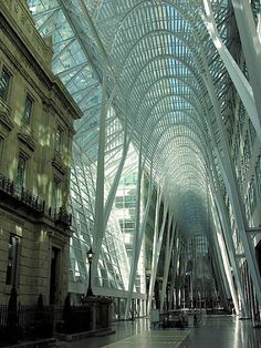 Support structures: The Allen Lambert Galleria at Brookfield Place Toronto, Ontario, Canada,is an atrium designed by Spanish architect Santiago Calatrava. Space Architecture, Beautiful Architecture, Contemporary Architecture, Architecture Details, Creative Architecture, Building Architecture, Chinese Architecture, Futuristic Architecture, Atrium Design