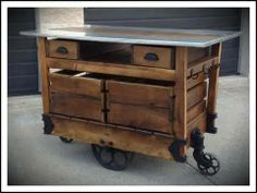 Industrial Steampunk Style Hand Made Factory Cart Kitchen Island ...