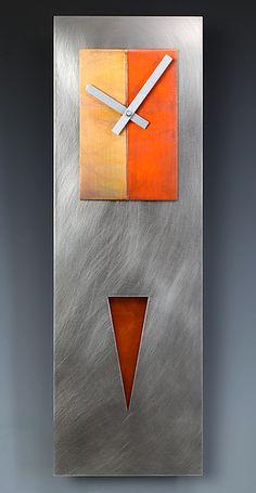 Steel Spike Pendulum Clock: Leonie Lacouette: Metal Clock - Artful Home Handmade Wall Clocks, Unique Clocks, Cool Clocks, Clock Art, Diy Clock, Coral Wall Art, Pendulum Clock, Metal Clock, Displays