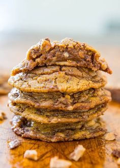 Soft and Chewy Toffee and Milk Chocolate Peanut Butter Cookies (gluten-free) - No Butter & No Flour Used!