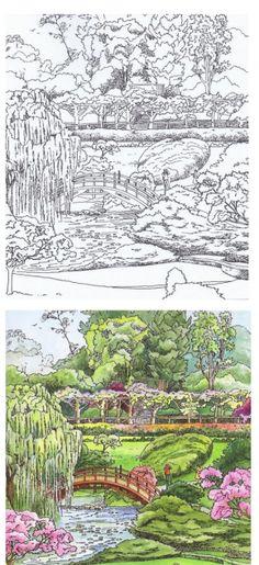 coloriage jardin japonais a imprimer gratuit picture coloriages pinterest japonais. Black Bedroom Furniture Sets. Home Design Ideas
