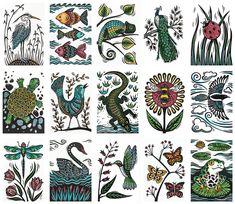Animal linocuts by Jill Bergman