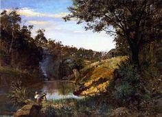 Sunset Glow, huile sur toile de Frederick Mccubbin (1855-1917, Australia)