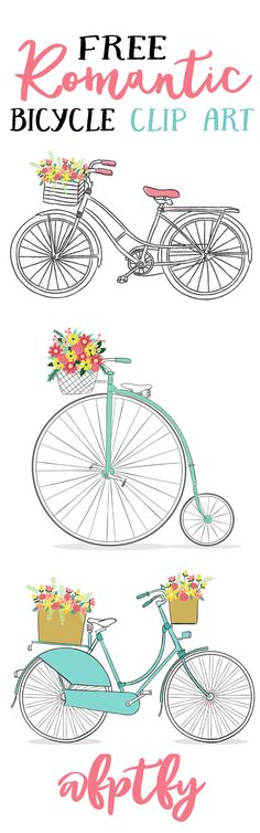 free romantic bicycle clip art: Today, I have for you some free romantic bicycle clip art that are absolutely lovely! They have a vintage touch and the flowers in the baskets give them and extra touch of sweetness! The images are pretty large;