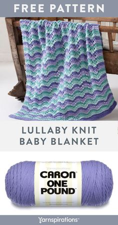 Free Lullaby Baby Blanket knit pattern using Caron One Pound yarn. As soothing as a lullaby, let them drift into dreamland all safe and cozy with a warm blanket. The soft, wavy pastels create a calm vibe for this blanket making it ideal for naptime Stitch this project to bring the sweetest of dreams. #yarnspirations #freeknitpattern #knitforbaby #knitthrow #knitblanket #knitafghan #knitbabyblanket #caronyarn #carononepound #nurseryblanket Free Baby Blanket Patterns, Knitting Patterns Free, Free Knitting, Baby Knitting, Crochet Patterns, Knitting Ideas, Crochet Ideas, Knitted Afghans, Knitted Baby Blankets