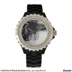 Black Fire II Rhinestone Black Enamel Watch Designed by Artist C.L. Brown and available in a variety of styles on Zazzle. #watch #watches #fashion #accessories #artbyclbrown