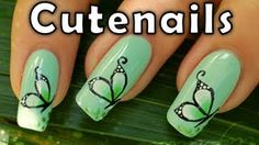 How to : butterfly nail art design by Cute Nails, via YouTube.