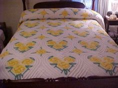 Vintage Chenille Bedspread Full White with Yellow and Green Hearts and Flowers