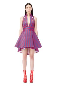 Asymmetrical dress with stripe print - Elisabetta Franchi