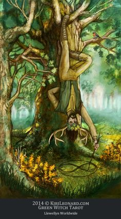 Green Witch Tarot: The Oak King / The Hanged Man