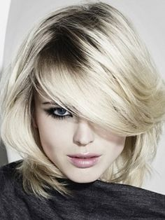 white blonde color combined with dark roots - great option for ladies with natural dark hair | 2014 hair trends