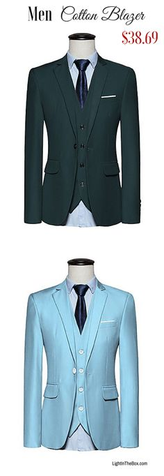 Do you like colours in your daily / work apparel? Find this classic slim men cotton blazer in Light Blue  Red  Green  Navy Blue  Purple  Yellow at just  $38.69. Click to shop!