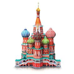 Create your own replica of a famous piece of architecture with this 3-D St. Basil's Cathedral Puzzle! The pre-cut foam and cardboard pieces are easy to assemble, and require no tools or glue. Simply f