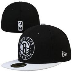 6616bff44b6 Mens Brooklyn Nets Black White Team Logo 59FIFTY Fitted Hat
