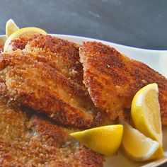 Chicken Milanese Recipe Main Dishes with boneless skinless chicken breasts, large eggs, bread, coarse salt, ground black pepper, unsalted butter, extra-virgin olive oil, lemon