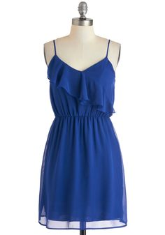 Frock Solid Dress - Mid-length, Blue, Solid, Ruffles, Casual, A-line, Spaghetti Straps, Spring, V Neck