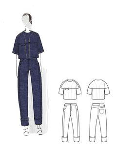 Fashion Sketchbook - denim project, fashion illustration; fashion portfolio // Buranee Soh