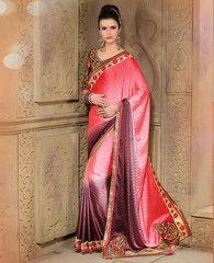 Pink & Burgany Color Jacquard Crepe Party Wear Sarees : Nimisha Collection  YF-41562