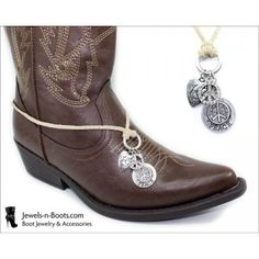 Western Boot Jewelry Necklace Demo Photo |:| Tan Leather Boot Bracelet Necklace w/ Antiqued White Gold Peace Signs & Heart Charms |:| http://Jewels-n-Boots.com