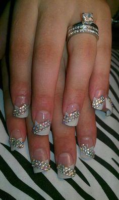 Pink Rhinestone Nails Sinaloa Style Nail Design Nail Designs Rhinestone Nails Cross Nails