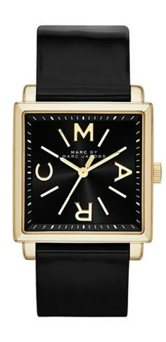 MARC BY MARC JACOBS 'Truman' Square Leather Strap Watch, 30mm ~ Black ~ $200