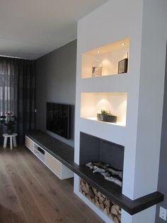 TV meubel met geïntegreerde haard