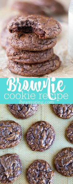 This brownie cookie recipe is all of the good parts of a brownie- crackly crust, fudgy middles, chewy edges, & intense chocolate flavor -in one cookie. | ihearteating.com | #brownie #cookie #recipe