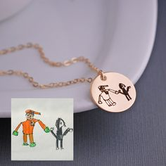 Child's Artwork - Gold Necklace – Custom Handwriting Jewelry georgie designs personalized jewelry