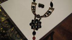 Black crystal necklace earrings fleur set http://luxeandclass.com.au/shop-fashion-accessories/fashion-jewellery/necklaces/black-crystal-necklace-earrings-fleur-set.html