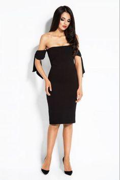 6b04043fffb Εφαρμοστό μίντι φόρεμα στράπλες - Μαύρο