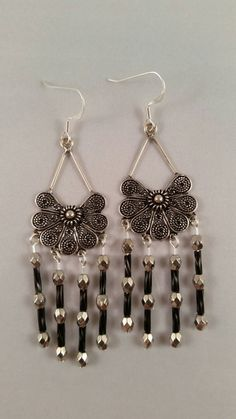 Black and Silver Chandalier Earrings by momoscreations on Etsy #CraftShout #MothersDay