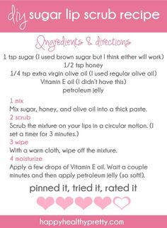 Sugar lip scrub: just tried this, works wonders and costs nothing! Used vaseline's cocoa butter lip treatment after