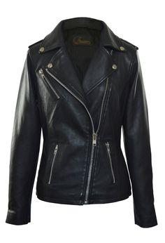 Faneema Women's Neva Asymmetrical Moto Leather Jacket, Black