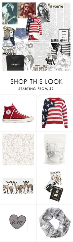 """""""Lana del Rey"""" by tess-302 ❤ liked on Polyvore featuring Calvin Klein, Converse, Chanel, Assouline Publishing, Serfontaine, Monki, lanadelrey, dream and americanflag"""
