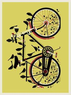 original Bike Yellow Poster 18 x 24 Methane Studios Robert Lee ltd ed. #kids #bikes #nursery #walls #print #art #livingroom #bedroom