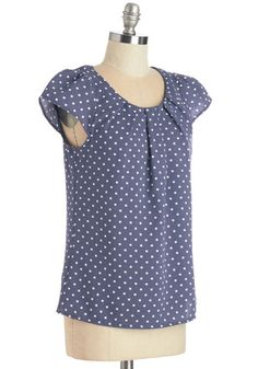 Steal the Show Top in Blue Dots | Mod Retro Vintage Short Sleeve Shirts | ModCloth.com