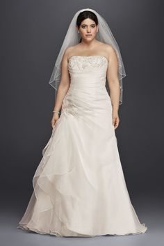 Extra Length Organza and Lace Plus Size Ruched Wedding Dress - Ivory, 16W