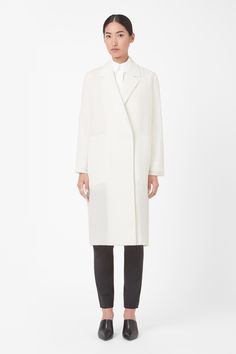 A clean, modern style, this oversized coat is made from lightweight scuba with sharp laser-cut edges. A straight shape with a high back vent, it has wide notched lapels, hidden front zip fastening and deep in-seam pockets. Work Chic, Oversized Coat, Fashion Over 50, Fall Fashion, Womens Fashion For Work, Contemporary Fashion, Who What Wear, Fashion Brand, Normcore