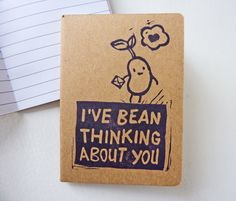 Customized Pocket notebook 'Bean' - handpulled original blockprint - stamp. €5.00, via Etsy.